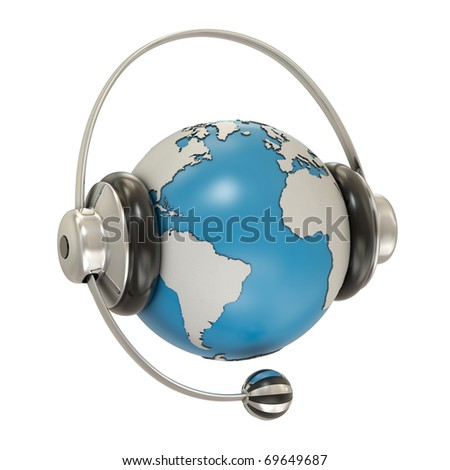 Earth and headphones isolated on white background