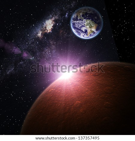 Earth and Mars in space. Elements of this image furnished by NASA. - stock photo