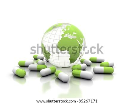 Earth and medicine Global health care - stock photo