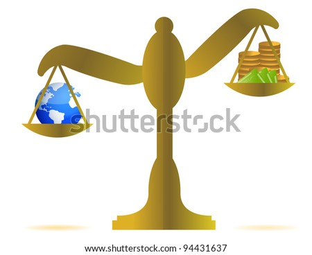 earth and money on a balance over white background - stock photo