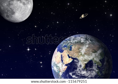"""Earth and Moon """"Elements of this image furnished by NASA"""" - stock photo"""