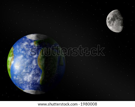 Earth and moon from space - stock photo