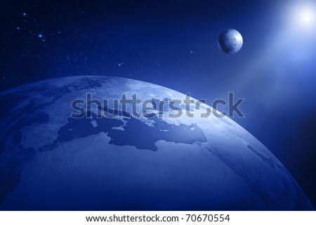 Earth and moon in deep space - Africa and Europe (3D uv maps from http://visibleearth.nasa.gov) - stock photo
