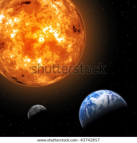 Earth and Moon in front of the Sun - stock photo