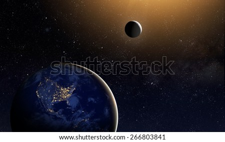Earth and moon in space. Elements of this image furnished by NASA - stock photo