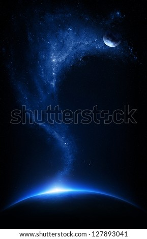 Earth and moon interconnected with starfield    (Elements of this image furnished by NASA-   http://visibleearth.nasa.gov) - stock photo