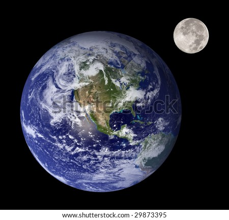 Earth and moon like mother and daughter in outer space - stock photo