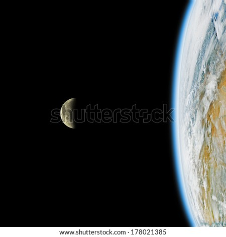 Earth and Moon on a black clipping background. Earth disk furnished by NASA/JPL. - stock photo