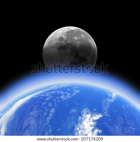 Earth and Moon on a dark starless background. Elements of this image furnished by NASA.  - stock photo