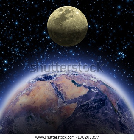 Earth and Moon on a dark starry background. Elements of this image furnished by NASA.