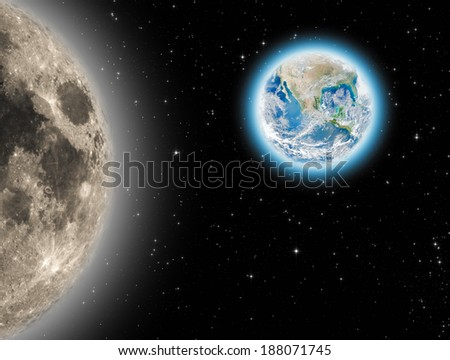 Earth and Moon on a dark starry background. Elements of this image furnished by NASA/JPL.  - stock photo