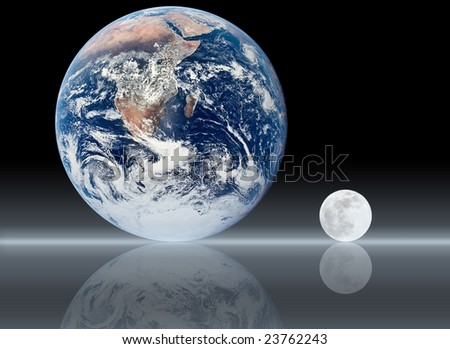Earth and moon reflection - business concept