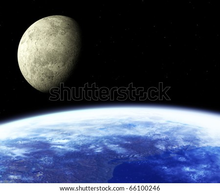 Earth and Moon. Space view - stock photo