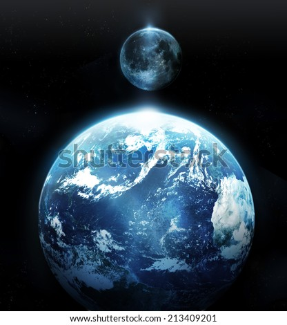 Earth and moon view from space - Original image NASA.gov - stock photo