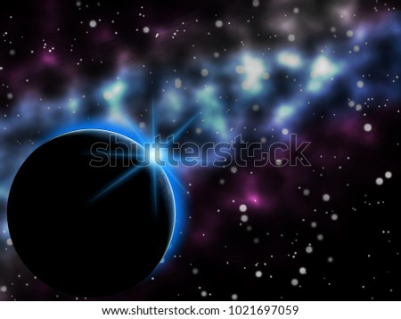Earth and nebula spacescape illustrations astro graphic design background.