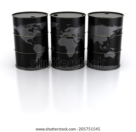 Earth and oil barrels - stock photo