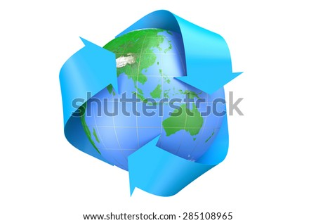 earth and recycle symbol isolated on  white background  - stock photo