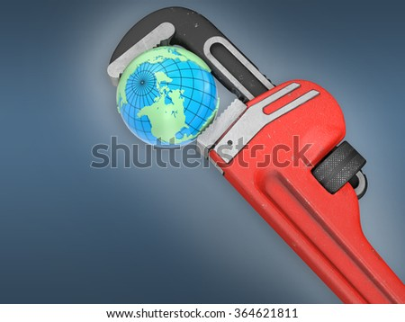 Earth and red wrench - stock photo
