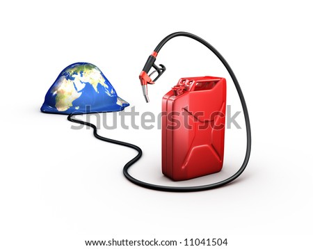 earth and refueling hose and gas can - stock photo
