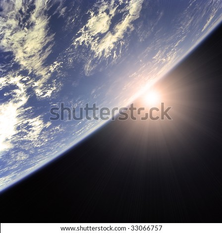 Earth and rising Sun illustration - stock photo