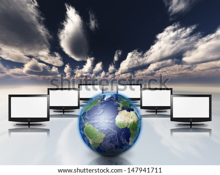 Earth and screens in surreal space - stock photo