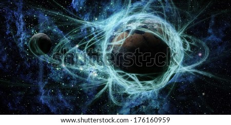 Earth and space, Elements of this image furnished by NASA - stock photo