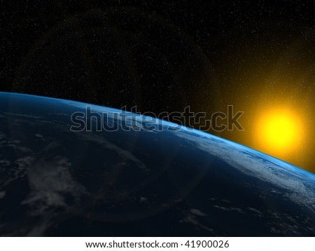 Earth and Sun - stock photo