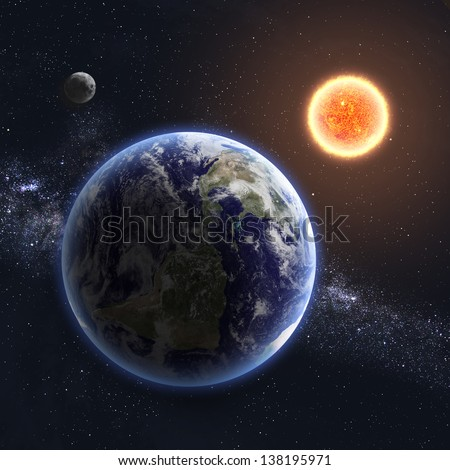 Earth and Sun. Elements of this image furnished by NASA - stock photo