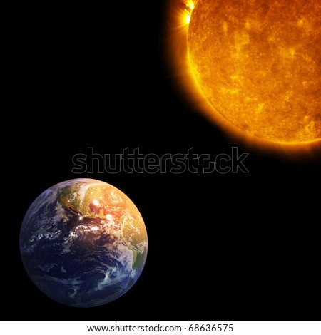 Earth and Sun, Global warming (Collage from images from www.nasa.gov) - stock photo