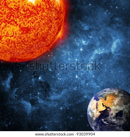 Earth and Sun, Global warming (Collage from images from www.nasa.gov)