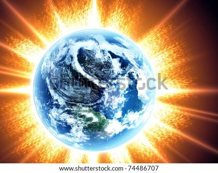 Earth and sun. Space sunrise - stock photo