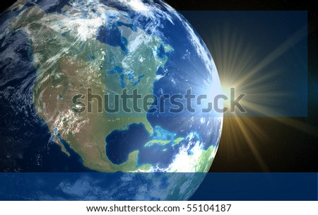 Earth and sun. Space sunrise America for text and logo - stock photo