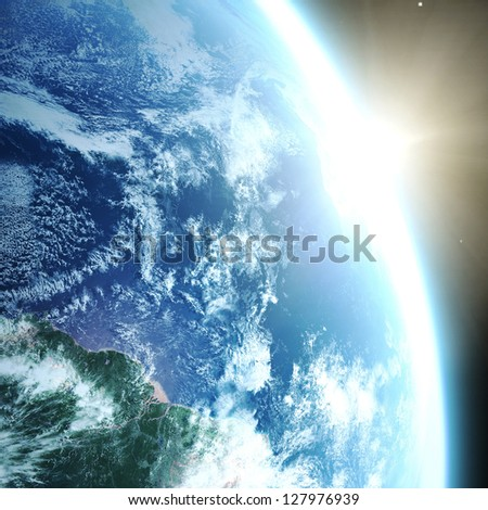 "Earth and sun. Space sunrise ""Elements of this image furnished by NASA"" - stock photo"