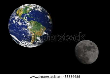 Earth and the moon. Earth map by courtesy of NASA - stock photo