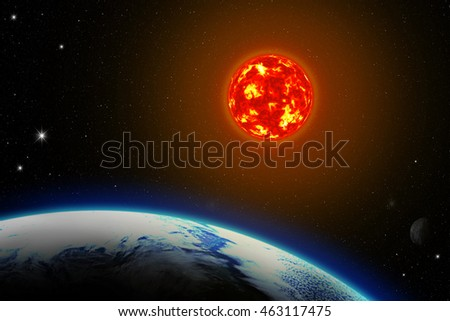 Earth and the Sun - Elements of this Image Furnished By NASA