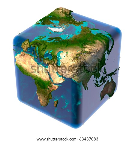 Earth as a cube with translucent body of water and a detailed relief map of the continents and ocean floor - stock photo