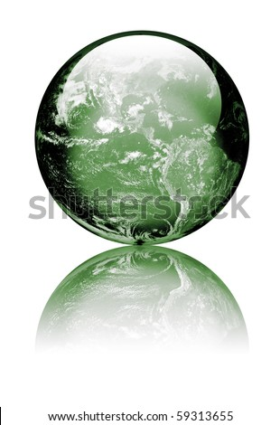 Earth as globe with highlights and reflections. Green to reflect environmental issues Isolated on white. Earth image public domain courtesy http://earthobservatory.nasa.gov/ - stock photo