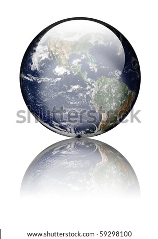 Earth as globe with highlights and reflections. Isolated on white. Earth image public domain courtesy http://earthobservatory.nasa.gov/ - stock photo