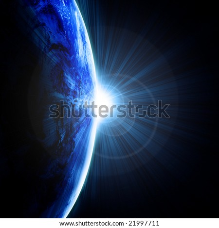 Earth as seen from outer space with sunrise - stock photo