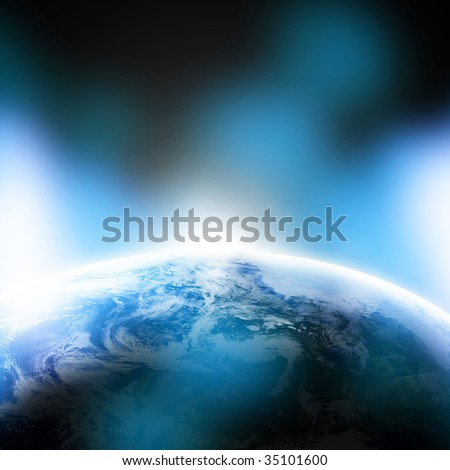 Earth as seen from space on a blue background