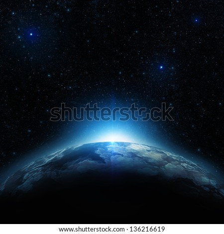 Earth at night - stock photo