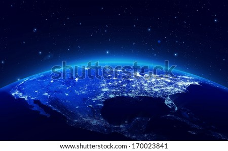 Earth at night with city lights (Elements of this image furnished by NASA) - stock photo