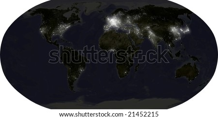 world map in robinson projection showing illuminated urban areas at night