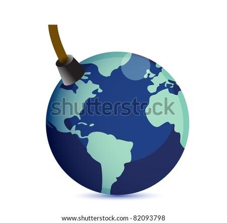 Earth at risk boom concept. illustration design - stock photo