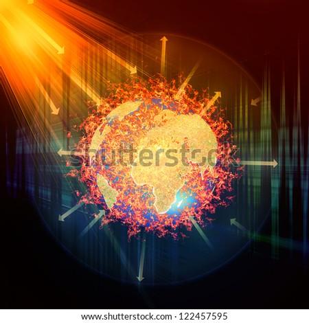 Earth atmosphere greenhouse effect scheme with sun rays and planet - stock photo