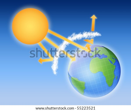 Earth atmosphere greenhouse effect scheme sun em ilustrao stock earth atmosphere greenhouse effect scheme with sun rays and planet ccuart Image collections