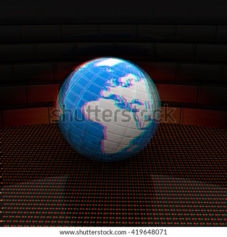 Earth ball on light path to infinity. 3d render . 3D illustration. Anaglyph. View with red/cyan glasses to see in 3D. - stock photo