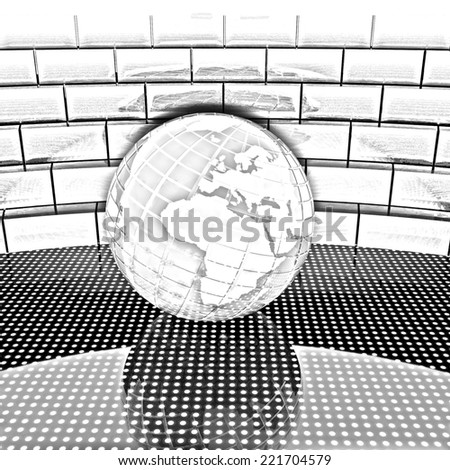 Earth ball on light path to infinity. Pencil drawing  - stock photo