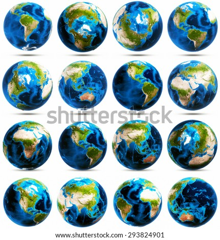 Earth big icons set. Elements of this image furnished by NASA - stock photo