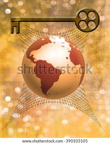 Earth Binary Code and Key Elements of this image furnished by NASA - stock photo
